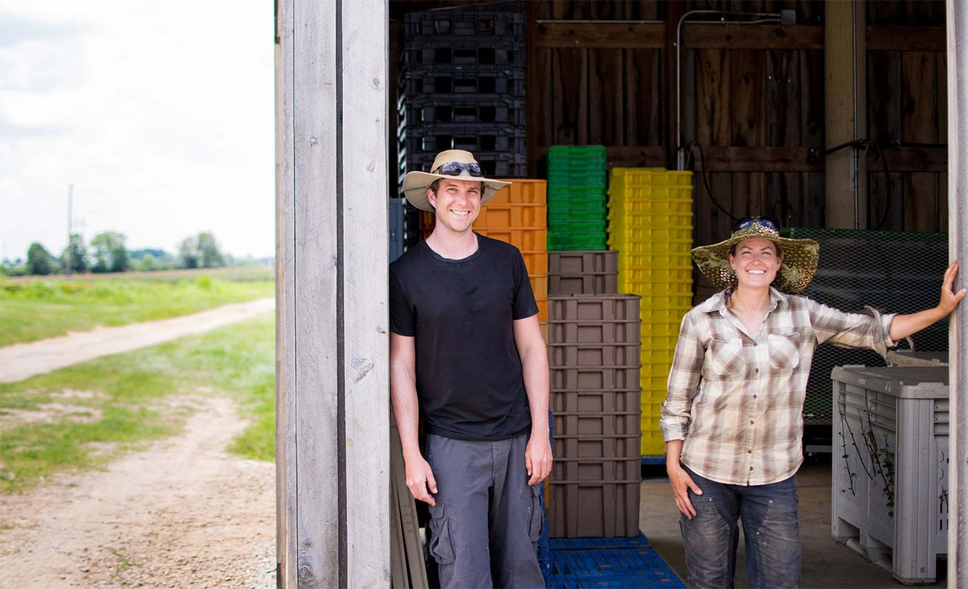 Neil Wilson and Kristi Durban at UK's South Farm where they educate students on organic horticulture and supply produce to UK Dining when they have surplus from their CSA.