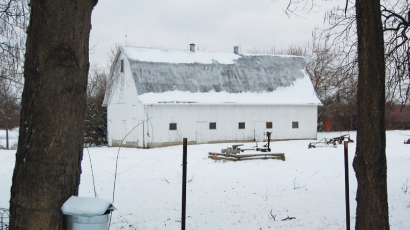 snow covered land and barn