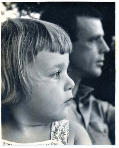father and daughter black and white image