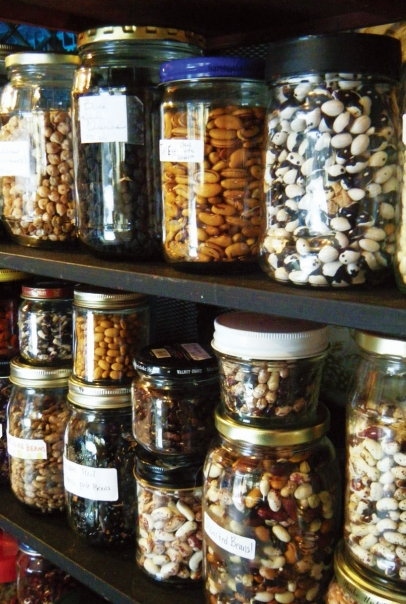dried seeds in jars