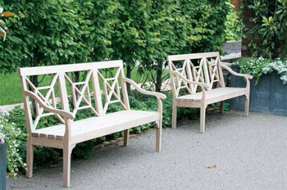 two benches and outdoor space