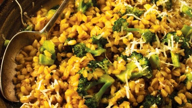 broccoli wheat berry risotto