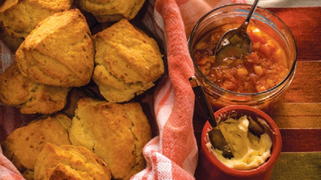 cream biscuits with butter and preserves