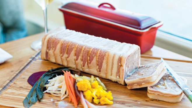 Lamb Liver Terrine served in slices with pickled vegetables, mostarda and crackers or bread